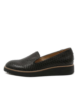 OLUS Flatform Loafers in Black Cut Leather