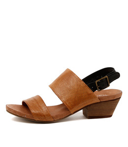 CREW Mid Heeled Sandals in Tan/ Black Leather