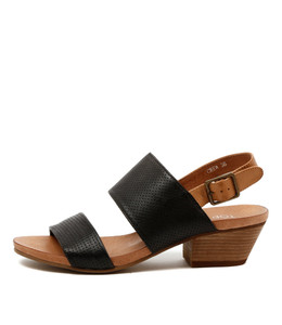 CREW Mid Heeled Sandals in Black/ Tan Leather