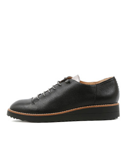 OPIUM Lace-up Flatforms in Black/ Pewter Leather