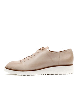 OPIUM Lace-up Flatforms in Nude/ Rose Gold Leather