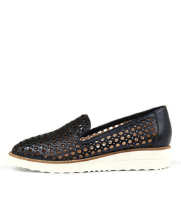 OSTA Flatforms in Navy Metallic Smoke Leather