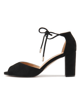 TEMPLE Heeled Sandals in Black Suede