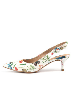 CHRISTY High Heels in White Floral Print Leather