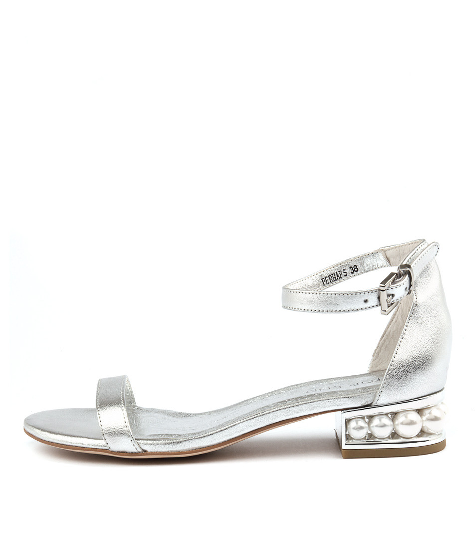 bb8ef0a1c3cb ... PERHAPS Sandals in Silver Leather. Image 1. Loading zoom