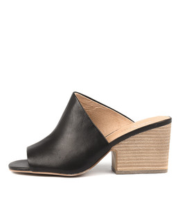 BILLYS Heeled Mules in Black Leather