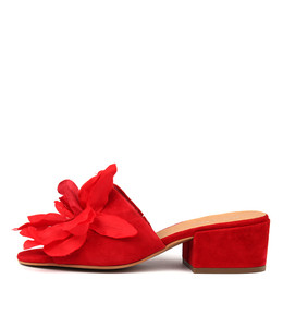FLYING Heeled Sandals in Red Suede