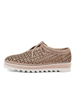 OLINDERS Flats in Rose Gold Dust Suede