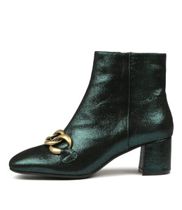 RANCE Ankle Boots in Forest Metallic Leather