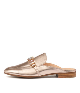 LEANN Mules in Rose Gold Leather