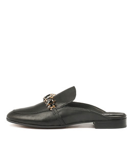 LEANN Mules in Black Leather