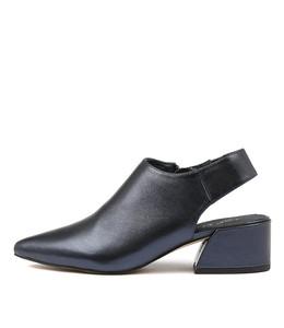 ONNIE High Heels in Navy Metallic Leather