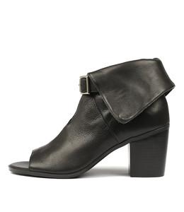 GAYLE Heeled Booties in Black Leather