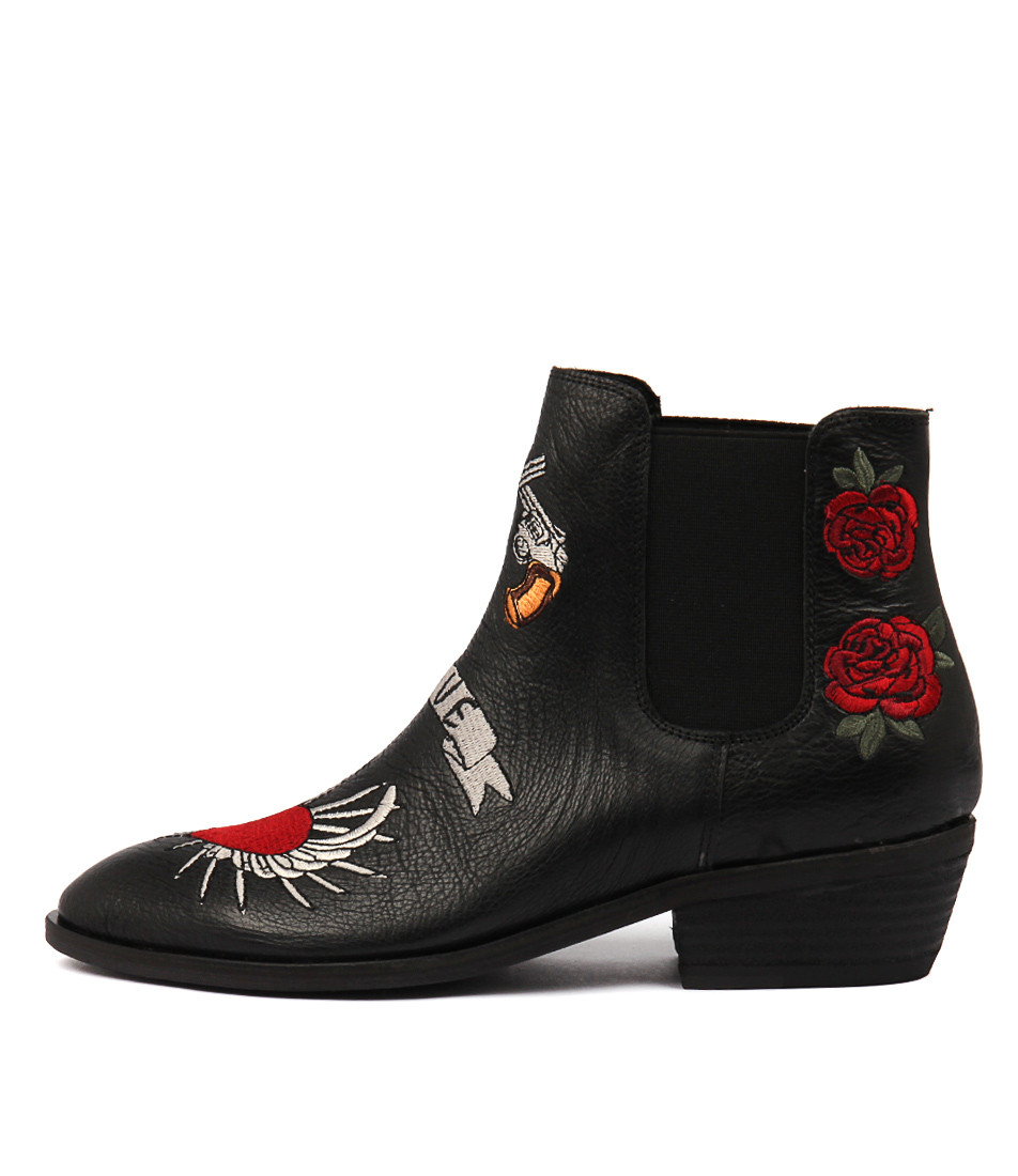 1e812cdc18 ... GOTGOT Ankle Boots in Black Embroidered Leather. Image 1. Loading zoom