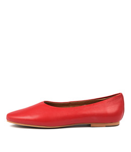 ADRON Flats in Red Leather