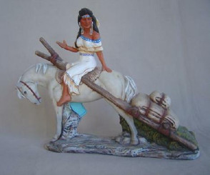 Doc Holiday Indian Maiden on horse with travois 11x13 ready to paint