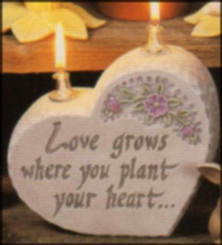 Dona's heart rock Love Grows where you plant your heart