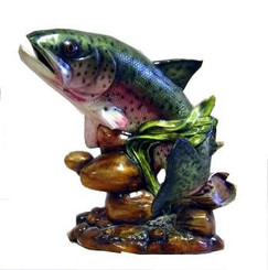 Rainbow trout on rock ready to paint ceramic bisqu