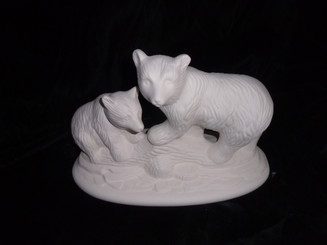 Bear and cub on rock ready to paint