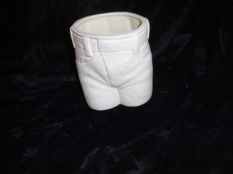 "Girls Blue Jean Flower Pot, 4"" x 3.5"" - Glazed Inside"