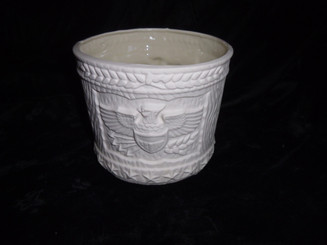 American Eagle flower pot glazed inside ready to paint