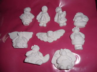 set of 9 button babies ceramic bisque, ready to paint ready to ship