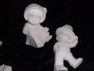 Dona Pilgrim dancing children ceramic bisque, ready to paint ready to ship