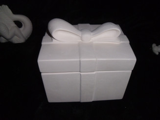 Square gift wrapped box ceramic bisque, ready to paint