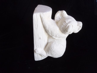 Koala bear on stump  ready to paint ceramic bisque