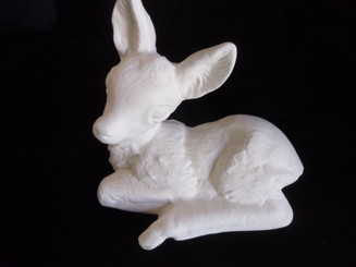 Yard fawn deer 9x8   ready to paint ceramic bisque