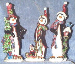 "Kimple Oak Knob Penguin Ceramic Bisque with Christmas Tree  appx 10"" tall"