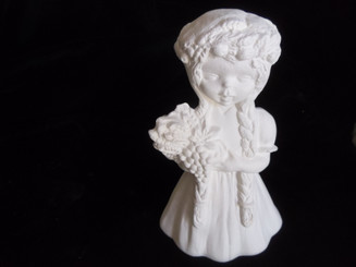 "Little Girl with Braids and Floral Head Wreath, 5"" Tall"
