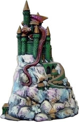 "Castle with Dragon on Rock Mountain 14""T"