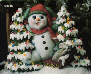 "Snowman W Sled 11"" Wide with plastic tree lights"