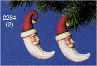 2 Santa Moon Ornaments