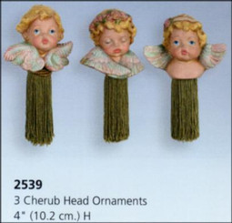 3 Cherub Head Ornaments 4""