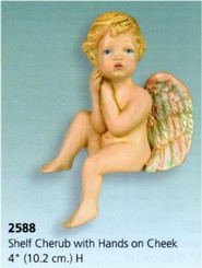 Shelf Cherub with Hands on Cheek 4""