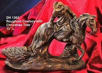 "Roughcut Cowboy with Christmas Tree 13""L"