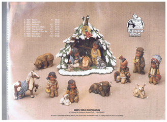 Kimple Native American/Indian Nativity set 15 pcs bisque ready to paint