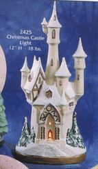 "Gare 2425 Christmas castle appx 12"" high ceramic bisque"