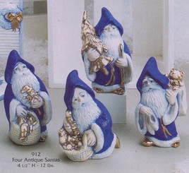 "Gare 912 4 santa's 4.5"" high   ceramic  bisque ready to paint"