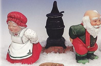 Bun Warmer Santa and Mrs Claus Ceramic Bisque Ready to Paint