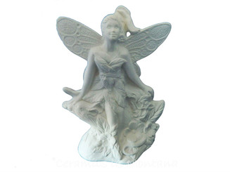 Fairy Sitting with Mouse Unpainted Ceramic Bisque