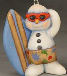 Surfing Snowman Christmas Ornament - Clay Magic
