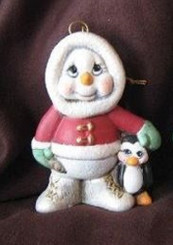 Eskimo Snowman w Penguin Christmas Ornament - Clay Magic