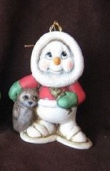 Eskimo Snowman w Baby Seal Christmas Ornament - Clay Magic