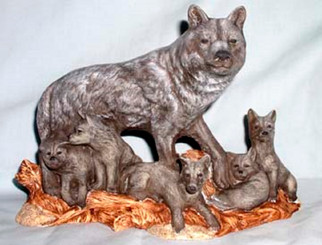 Wolf Pack - Wolf and Pups Unpainted Ceramic Bisque