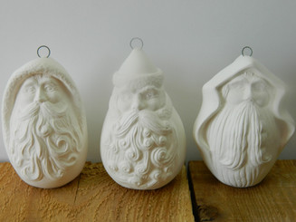 Roly Poly Old World Santa Claus Ornaments - Unpainted Ceramic Bisque