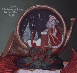 """Gare Santa """"I Believe"""" French Horn Night Light Ready to Paint Ceramic Bisque (With Clip Light)"""