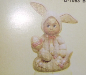 "Dona's Tiny Tot Easter Bunny on Grass, 4""x3"""